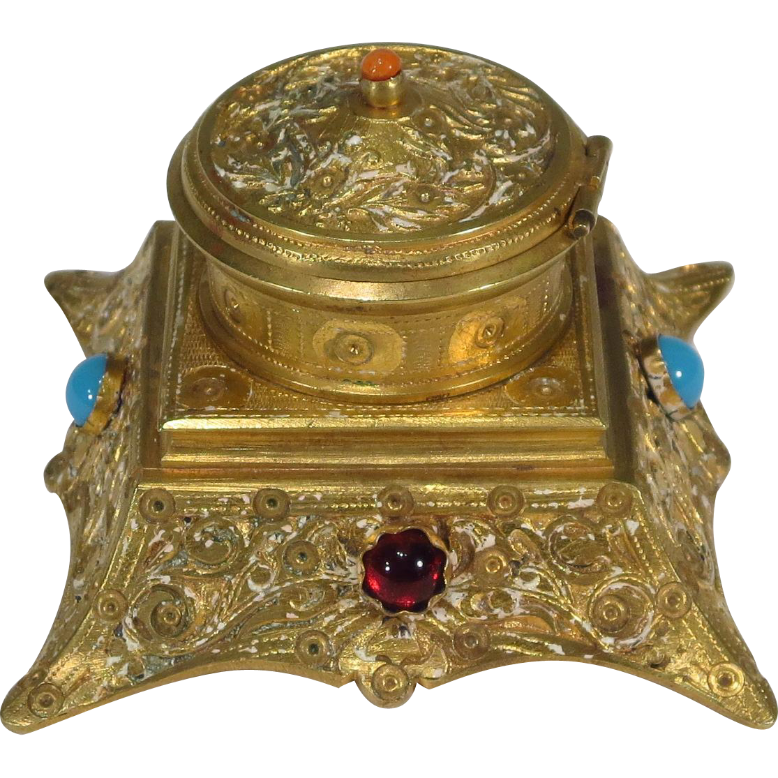 French gilt bronze inkwell stone accents from for Stone accents