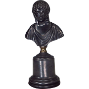 Black Basalt Roman Goddess Bust on Plinth