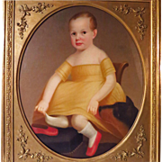 19th Century American School Oil Portrait Young Child with Dog