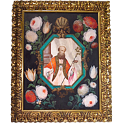 Flemish Oil on Paper Religious Painting Saint Blaise
