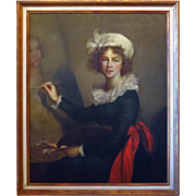 Oil on Canvas Painting Portrait Elisabeth Vigee-Lebrun Authorized Copy Uffizi Gallery