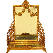 Antique French Gilt Metal Doll Dollhouse Dressing Pier Mirror