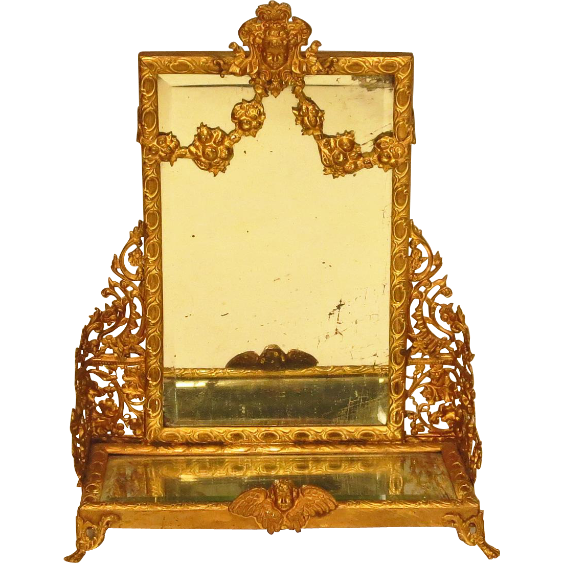 antique french gilt metal doll dollhouse dressing pier mirror from larieallenantiques on ruby lane. Black Bedroom Furniture Sets. Home Design Ideas