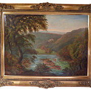 Large Oil Painting Landscape Signed