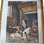 Large Watercolor Painting Hunting Dogs Warming by the Hearth