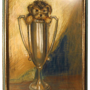 Pastel Painting Puppy in Trophy Cup