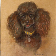 Poodle Pastel Painting Dog Portrait by Marjorie Cox