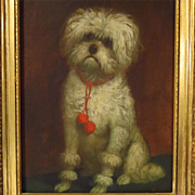 Dog Oil Portrait White Terrier Circle of Carl Reichert