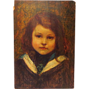 Young French Girl Jeune Fille  in Sailor Dress Oil on Panel