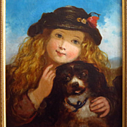 Large Oil Portrait Young Girl and Spaniel