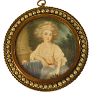 Antique Portrait Miniature Lady in Garden Jeweled Frame