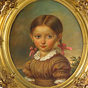 Little Girl with Pigtails Oil Portrait Dated 1854