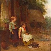James Seymour Adams Original Oil Painting Young Girls Feeding Kitten Titled Feeding Time