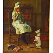 Young Girl and Terrier Oil Painting Signed