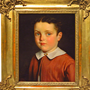 Beautiful Young Boy Oil Portrait Signed Weber