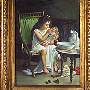 Oil Painting Young Girl Bathing Baby Doll  Reserved for S.