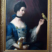 Large Oil Portrait Aristocratic Young Woman with Spaniel and Canary Georgian Era