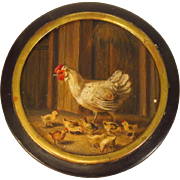 Antique Snuff Box Chicken and Chicks Miniature Painting