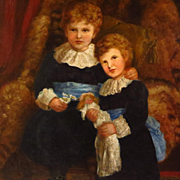 Antique Oil Portrait Two Young Sisters Interior Scene