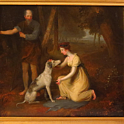 Regency Oil Painting Young Woman with Dog and Shepherd