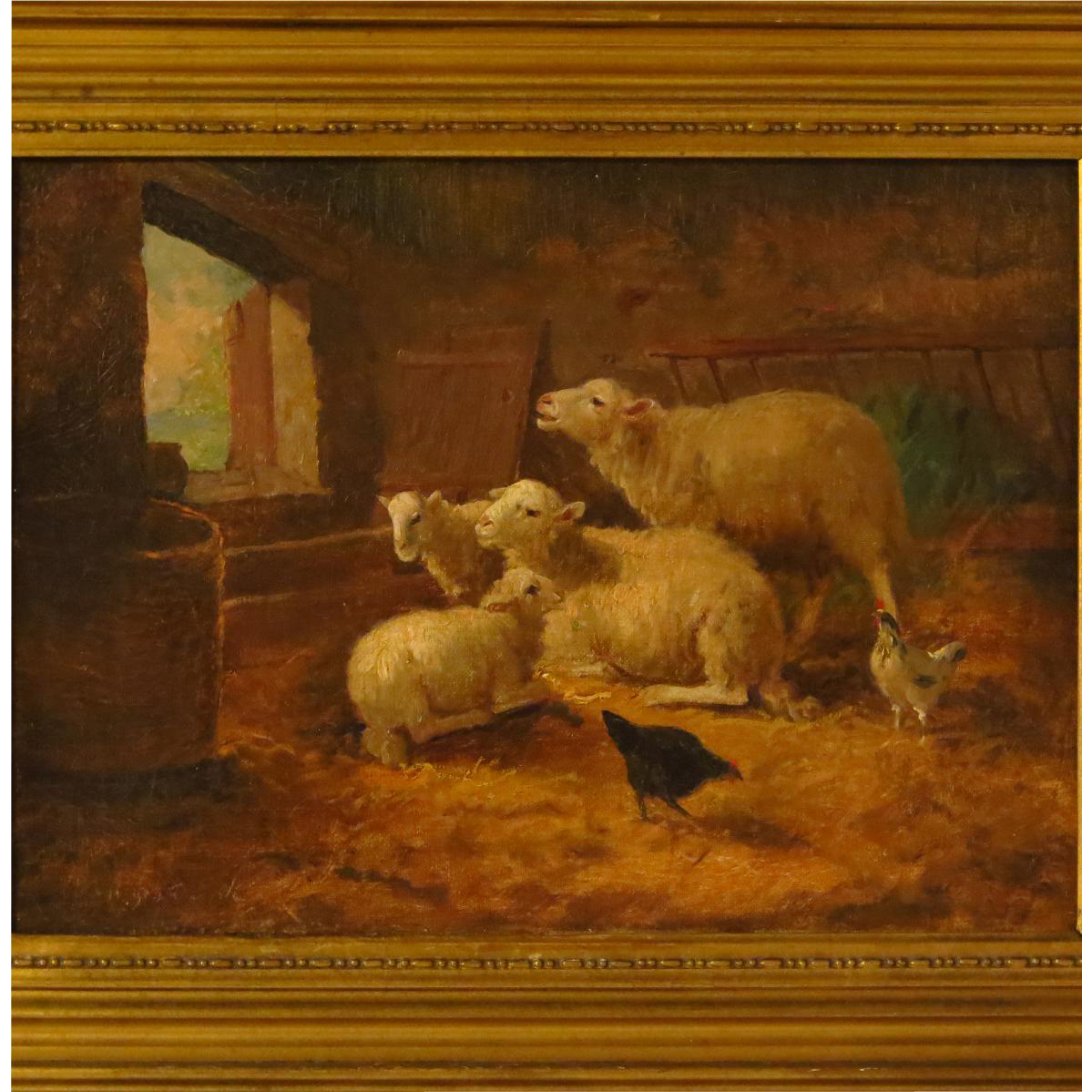19th Century Oil Painting Sheep And Chickens In Barn