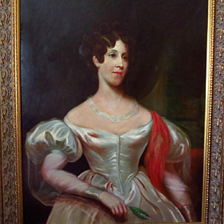 Early 1800's Oil Portrait Beautiful Woman in White Wedding Dress