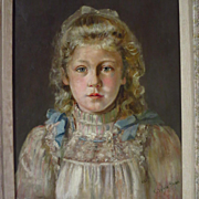 Beautiful Young Girl Portrait Artist Signed E. Sylvia Shaw Early 1900's
