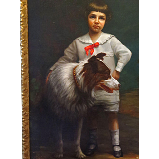 Life Size Oil Portrait Boy and Dog Signed H. M. Wegner 1914