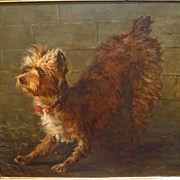 Large Antique Terrier Dog Oil Portrait