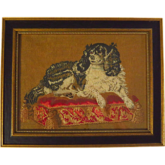 Antique Victorian Wool Embroidery Cavalier King Charles Spaniel Dash