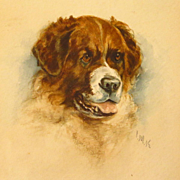 Miniature Saint Bernard Dog Portrait Watercolor Signed