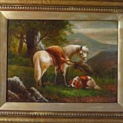 Antique English Oil Painting Horse and Dog After the Hunt