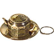 Vintage Sterling Silver Tea Strainer Infuser Amcraft Miniature Teapot with Underplate