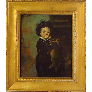19th Century Oil Painting Boy with Rabbit