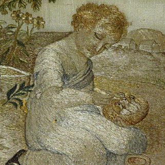 Georgian Silkwork Embroidery Girl with Bird Nest Baby Birds