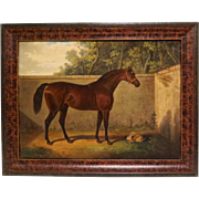 19th Century Painting Horse Portrait with Rabbit