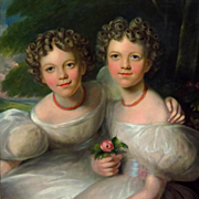 19th Century American Oil Portrait Sisters Beautiful Young Girls