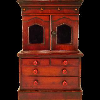 Miniature Antique English Stepback Cabinet Doll Furniture C.1850