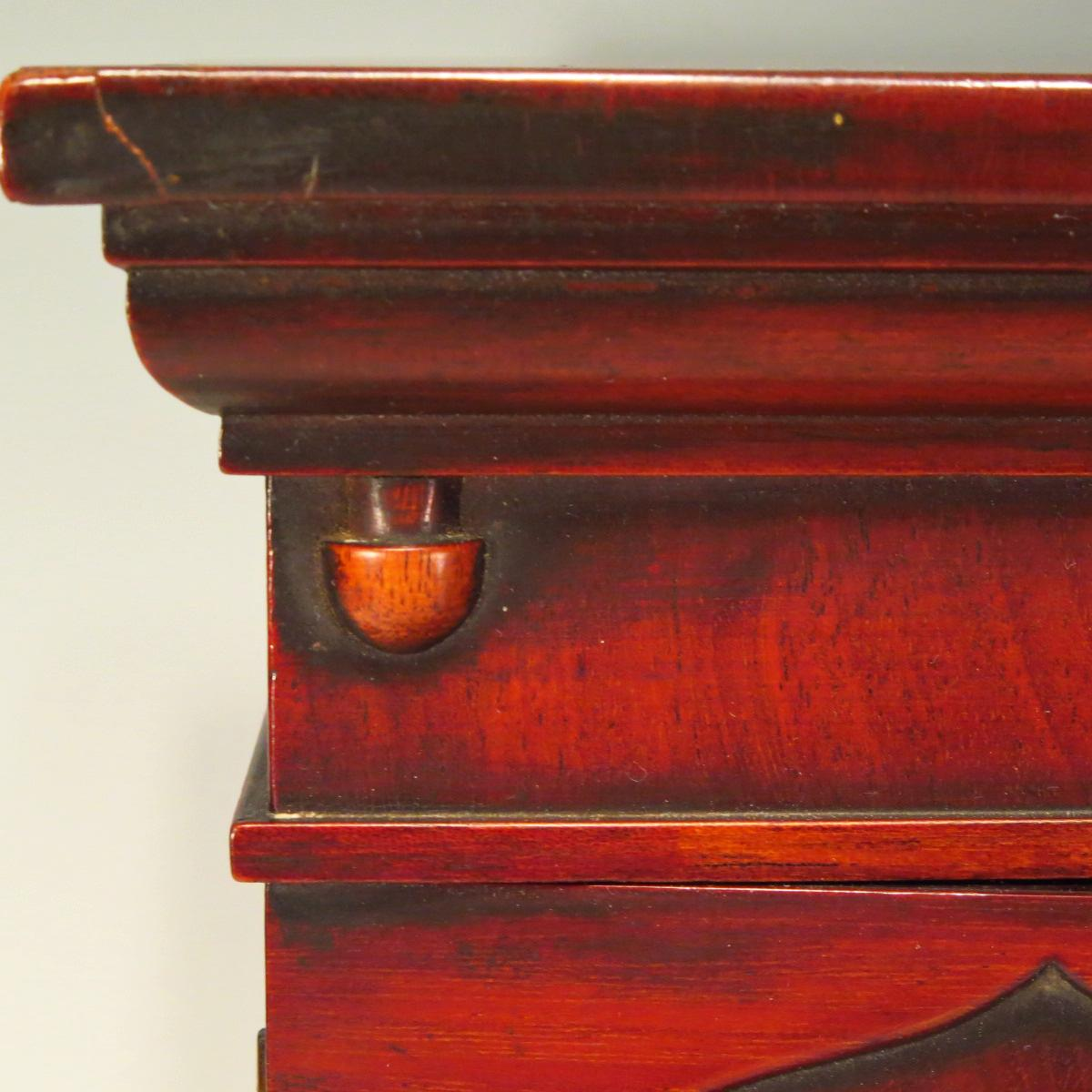 Miniature Antique English Stepback Cabinet Doll Furniture