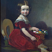Oil Portrait Young Girl American School c.1840's