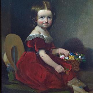 Oil Portrait Young Girl American School c.1840's