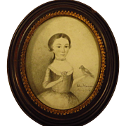 Georgian Miniature Portrait Girl Holding Bird Signed c.1768