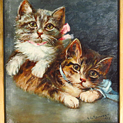 Kitten Oil Portrait Painting Signed Dated 1907