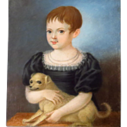 Child with Dog Pastel Painting Signed Dated 1815 for Linda