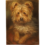 Maude West Watson Original Pastel Terrier Portrait Painting