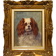 Cavalier King Charles Spaniel Watercolor Portrait Frances C. Fairman
