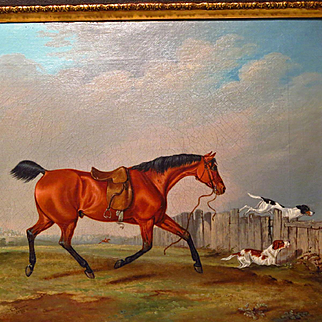 Edwin Brown 19th Century Hunting Oil Painting Horse and Hounds C1838
