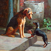 "Alfred Duke Original Oil Painting Two Dogs ""On the Doorstep"" Christie's Provenance"