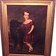 Life Size Portrait Young Child with Hunting Dog 19th Century British School