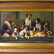 Circle John Emms Foxhounds and Terrier in Kennel 19th Century Oil Painting